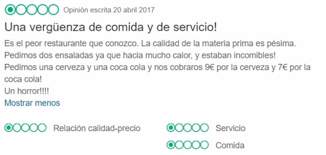 peor restaurante de Barcelona