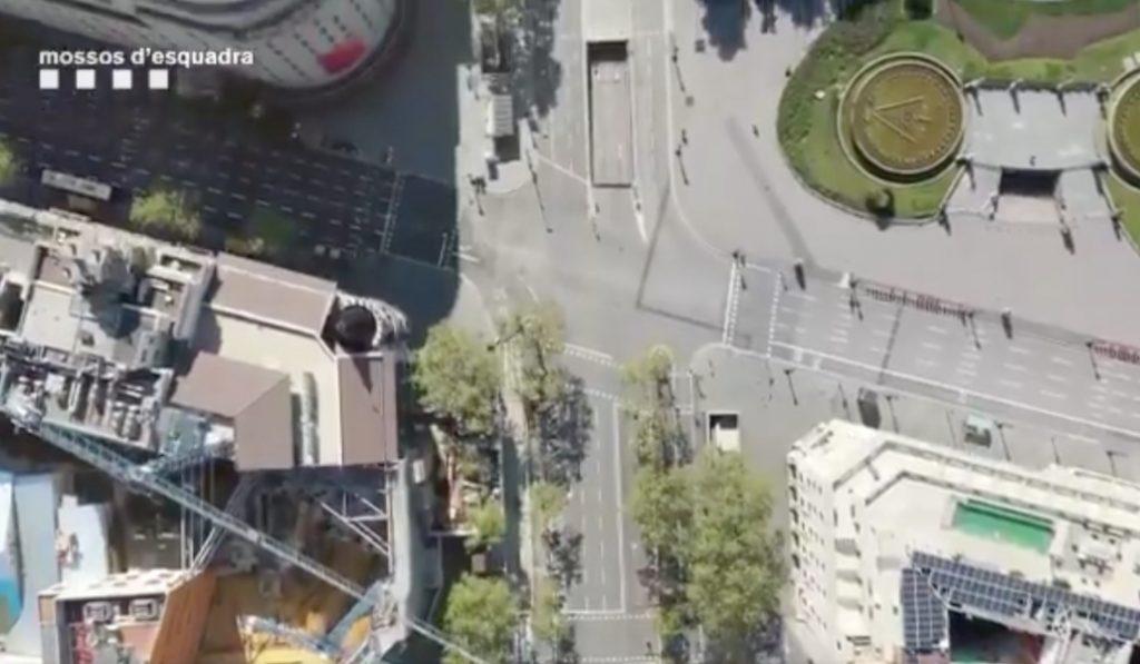 De película: así se ve la Barcelona desierta desde una cámara de los Mossos