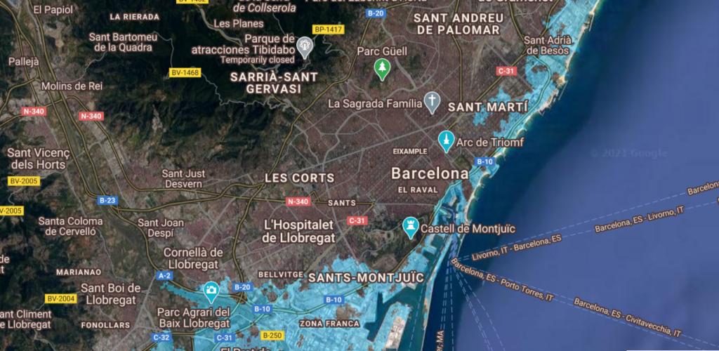 Así quedaría Barcelona ante una subida del mar