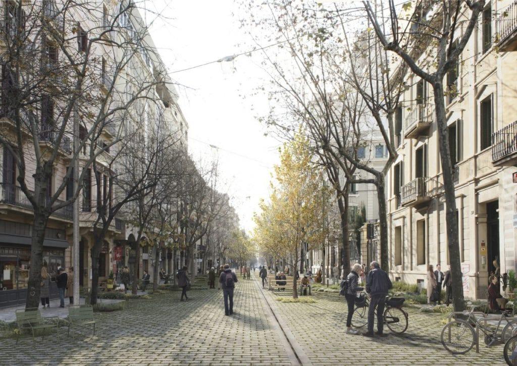 Así serán los ejes verdes de la Barcelona del futuro: peatonales, sin asfalto y sin tráfico