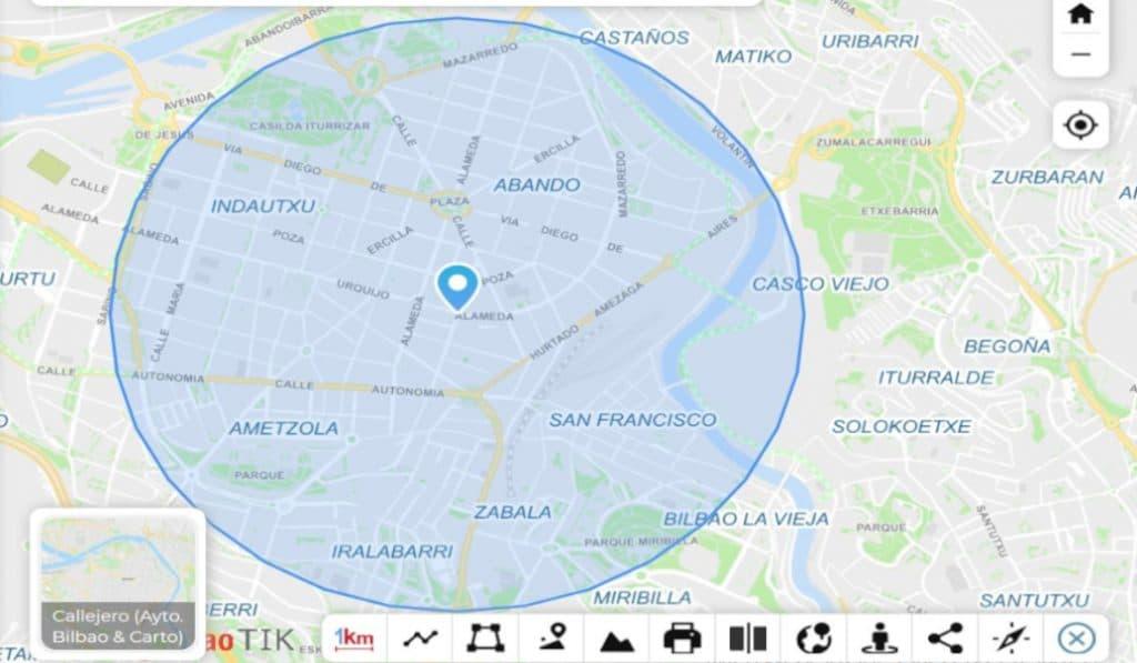 La herramienta del Ayuntamiento de Bilbao para medir el km de tus paseos