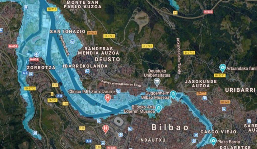 Así quedaría Bilbao ante una subida del nivel del mar