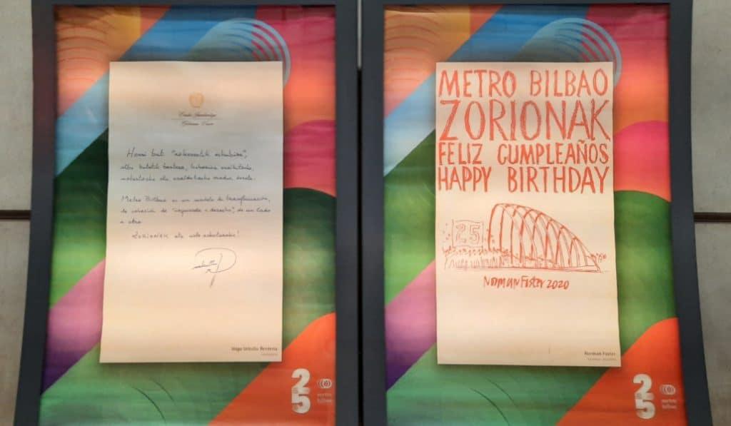 Metro Bilbao expone las felicitaciones por su 25 aniversario