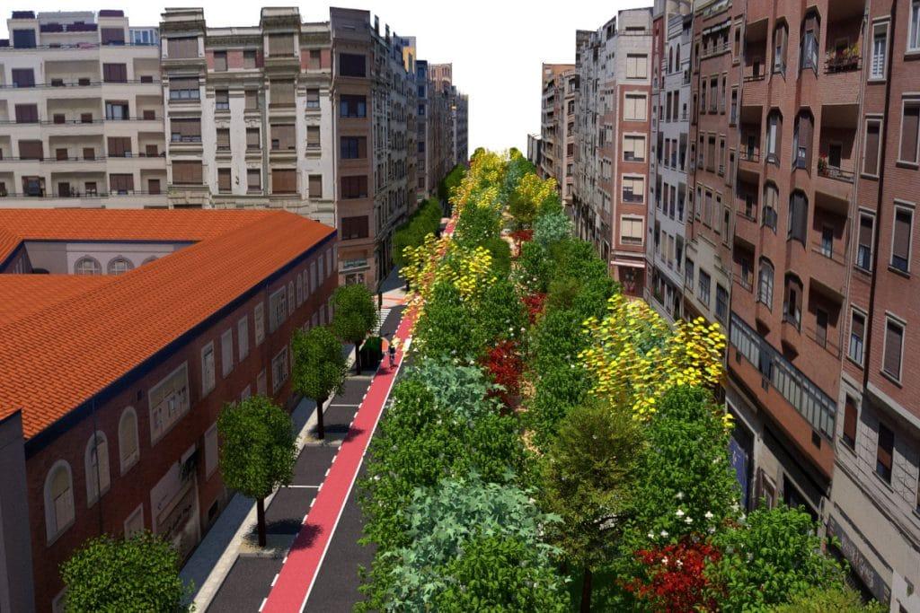 Así será la renovada calle María Díaz de Haro, el nuevo corredor verde de Bilbao