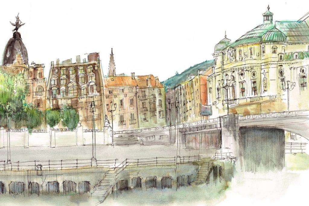 Bilbao en dibujo: así es la Villa desde la perspectiva más artística