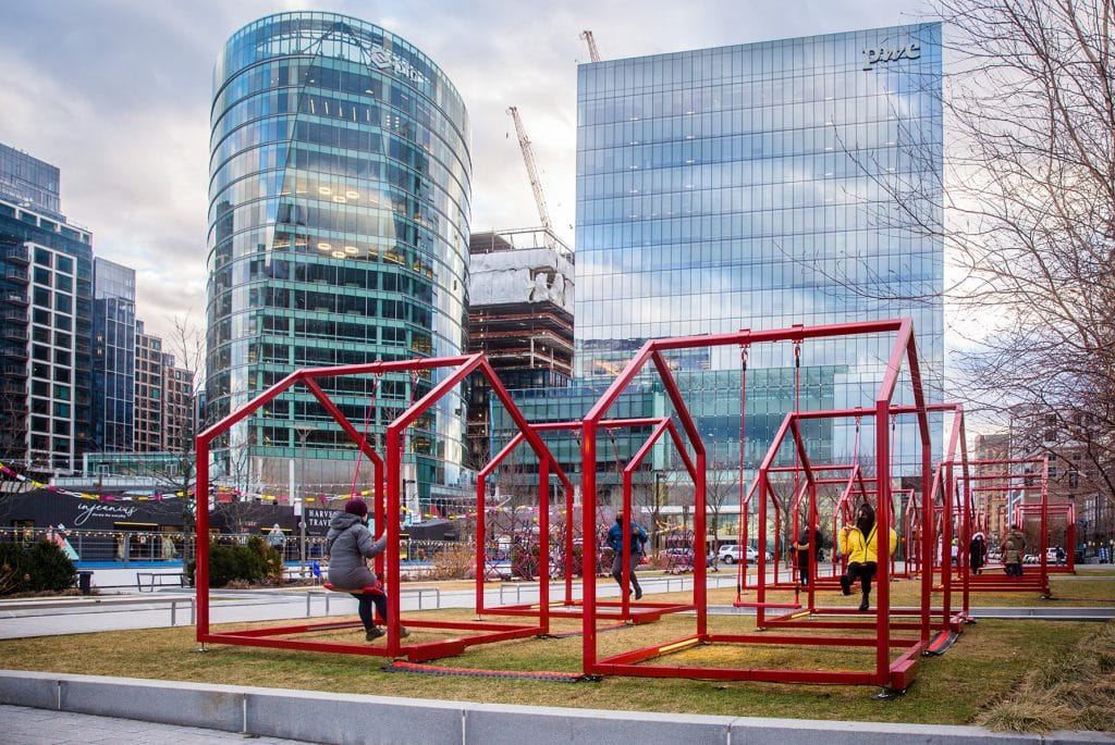 There's A Fun New Art Installation At Boston Seaport And You Can Swing On It!