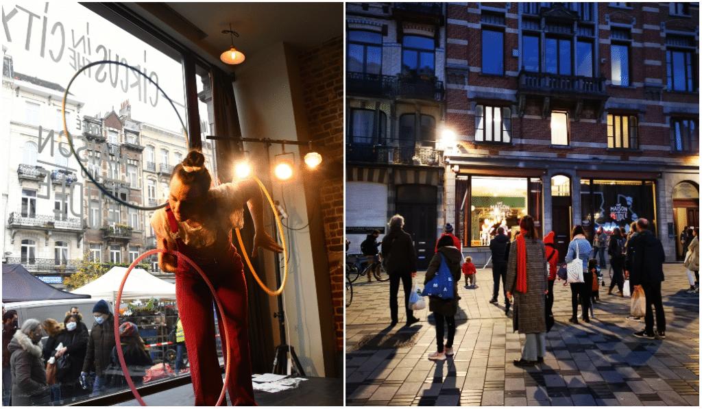 Magique : des artistes de Cirque investissent des vitrines à Bruxelles !