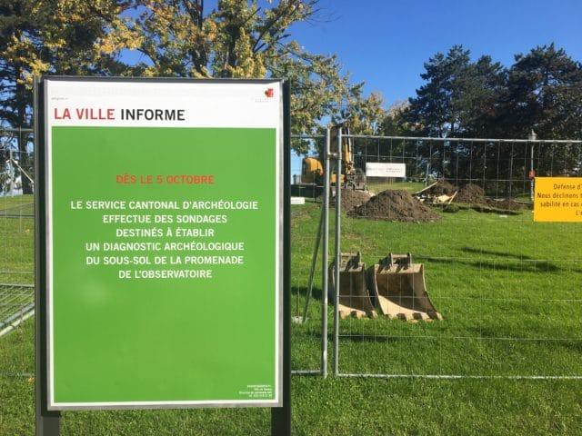 fouille archéologique genève promenade observatoire