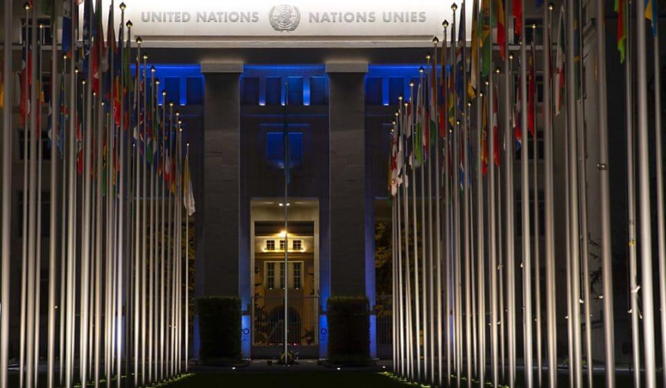 Le Palais des Nations et le Jet d'Eau illuminés en bleu pour les 75 ans des Nations Unies ce weekend !