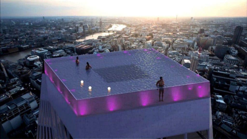 piscine rooftop londres swimming pool london building