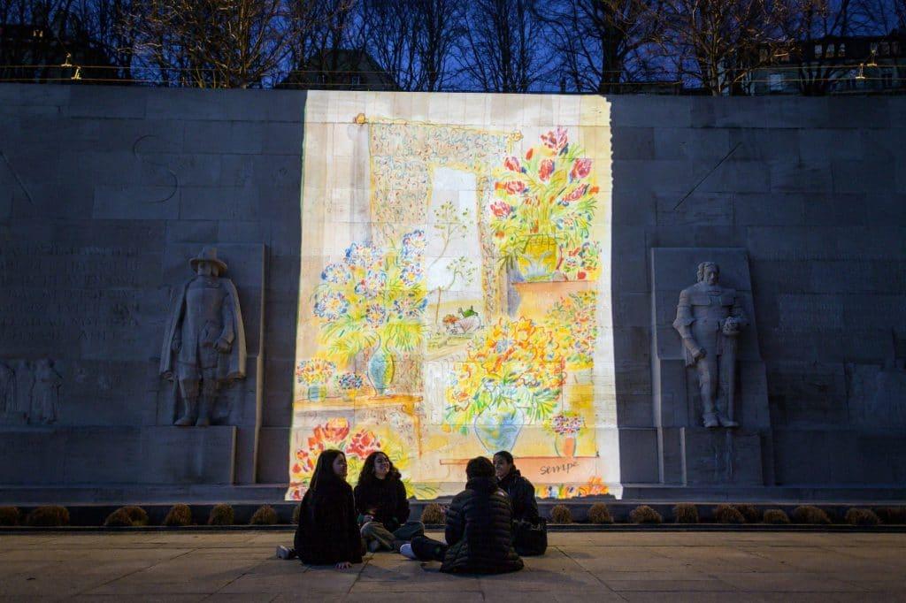 sempé dessins projetés genève murs oeuvres dessins exposition en plein air