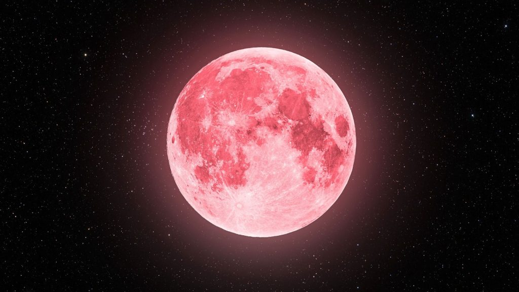 super lune rose avril ciel espace