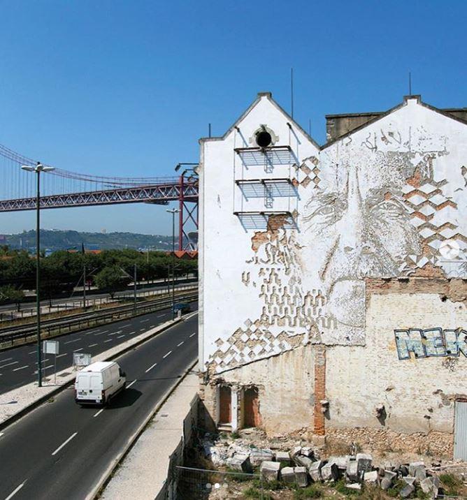 Mural de Vhils em Alcântara foi destruído