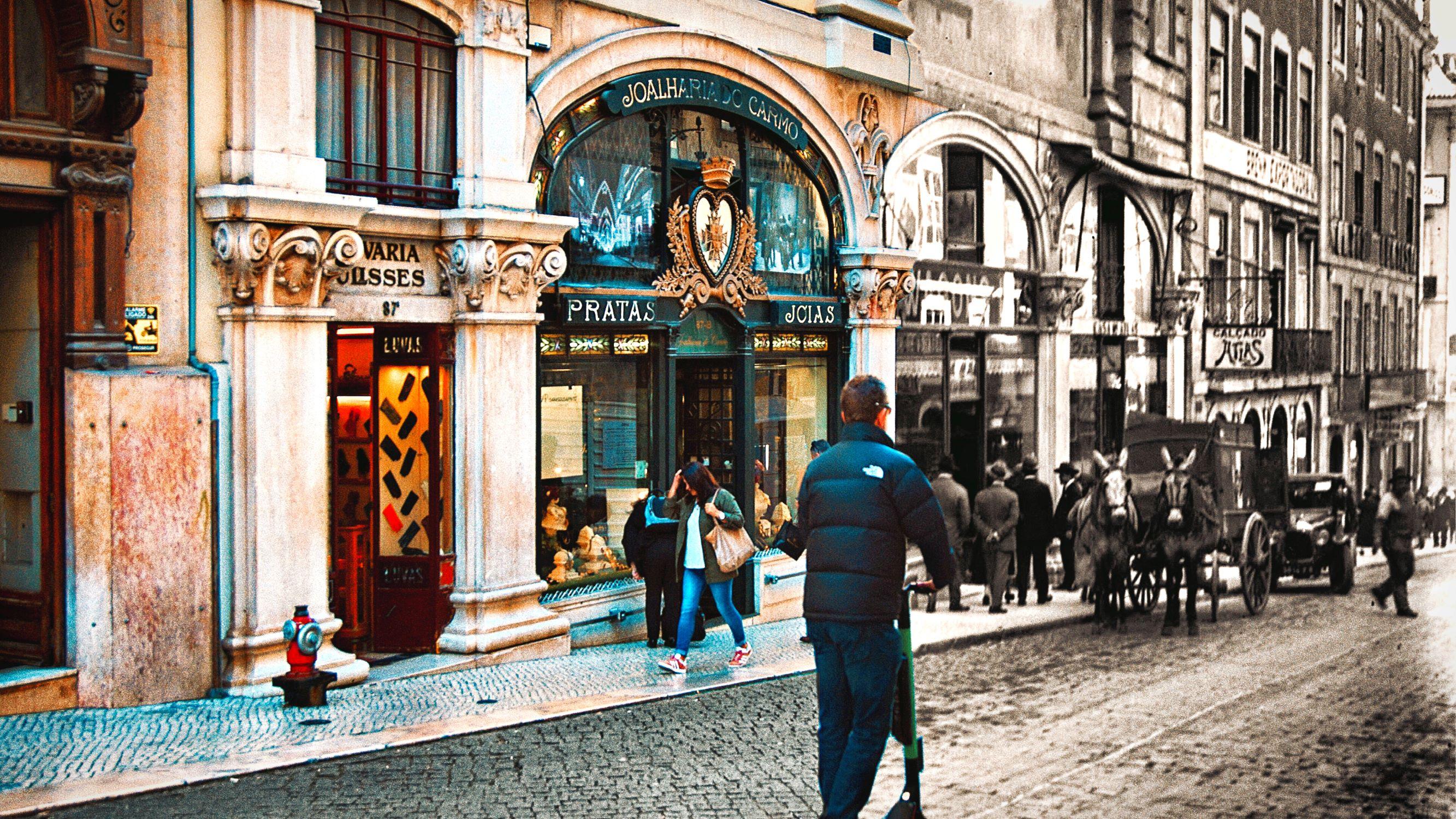 A Lisboa do passado e do presente: Rua do Carmo