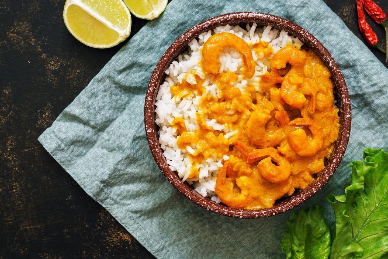arroz de caril com gambas