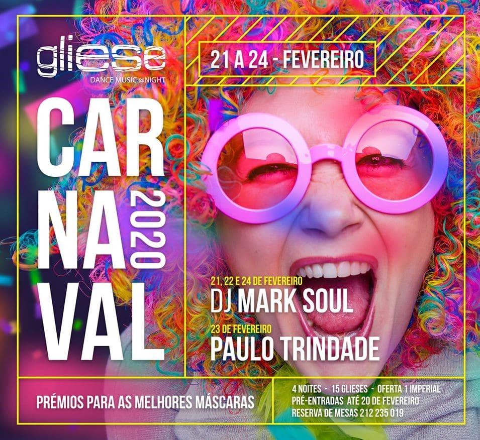 cartaz de carnaval no gliese bar em sesimbra