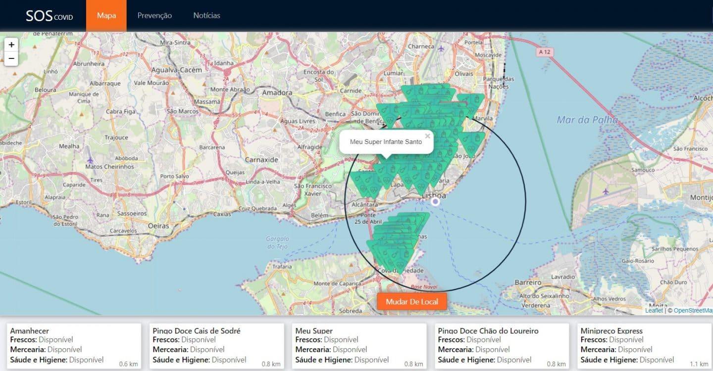 mapa dos supermercados SOS COVID-19