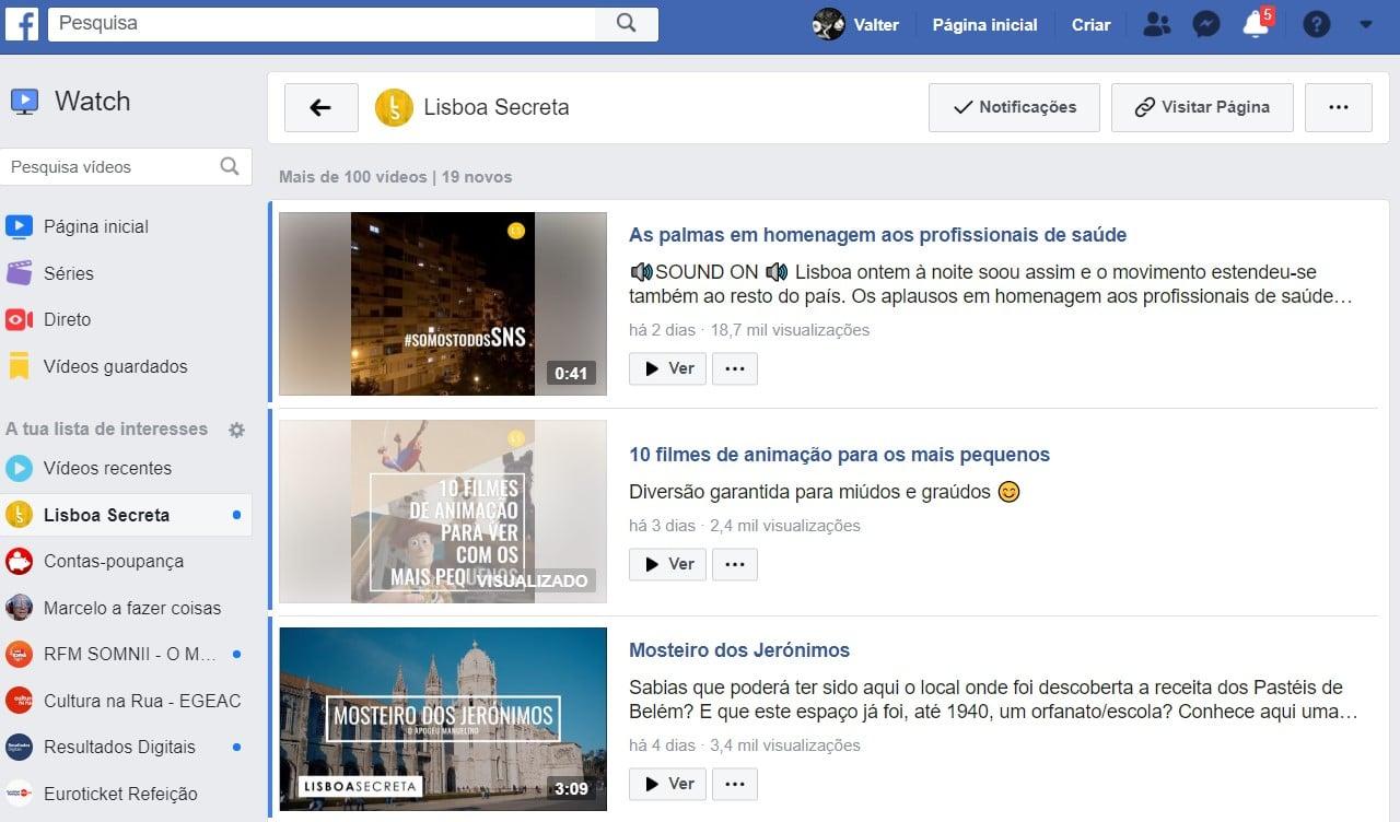 printscreen do facebook watch