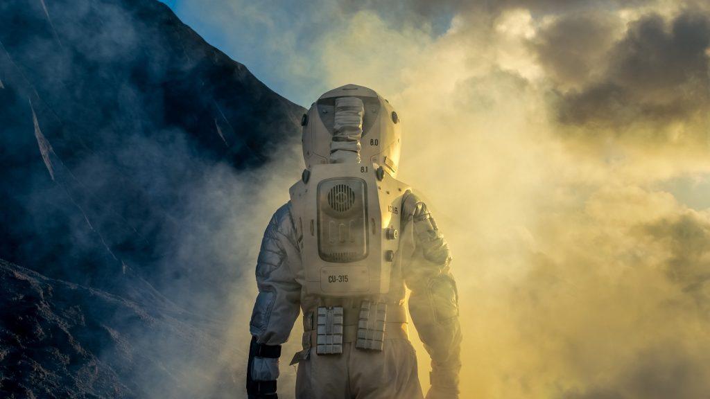 foto de simulação de astronauta em marte