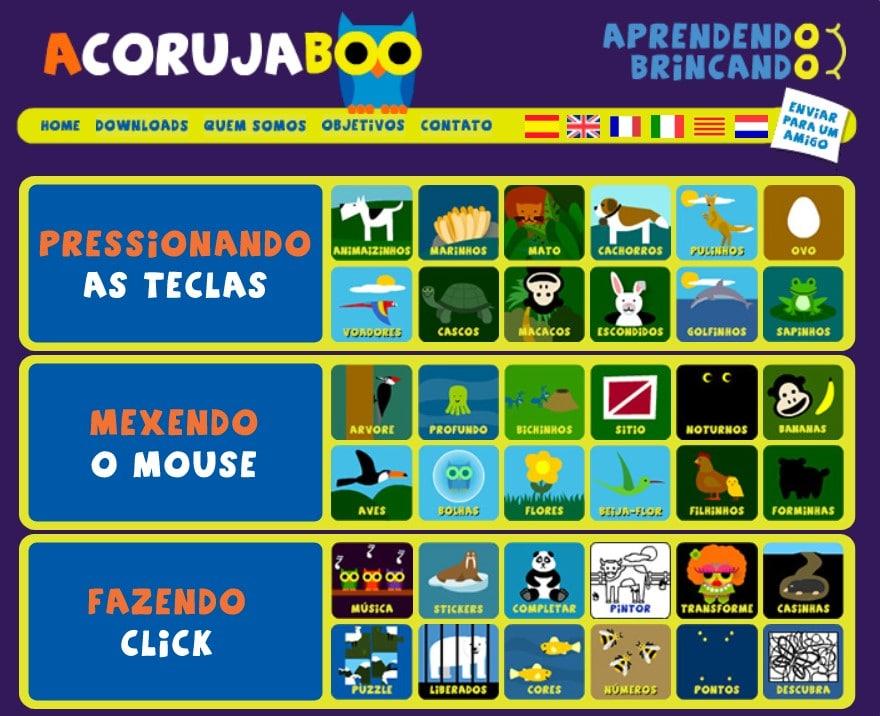 seleção de jogos educativos no site A Coruja Boo