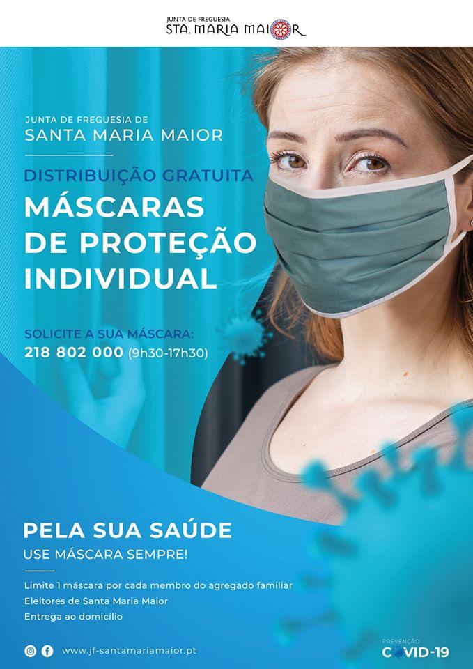cartaz máscaras de proteção grátis em Lisboa
