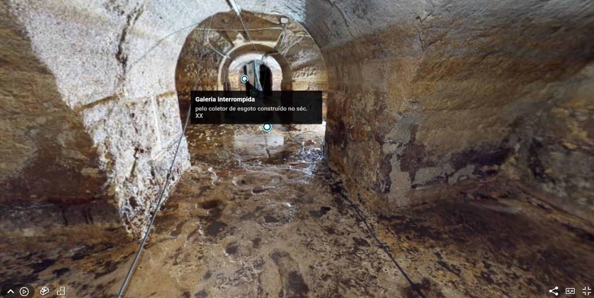 imagem 3d captada das galerias romanas em lisboa