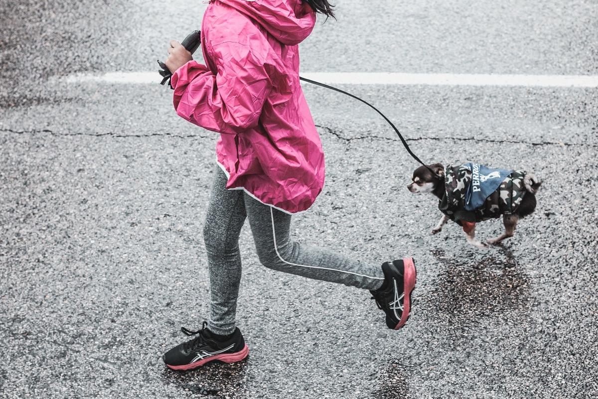 mulher a correr juntamente com o cão