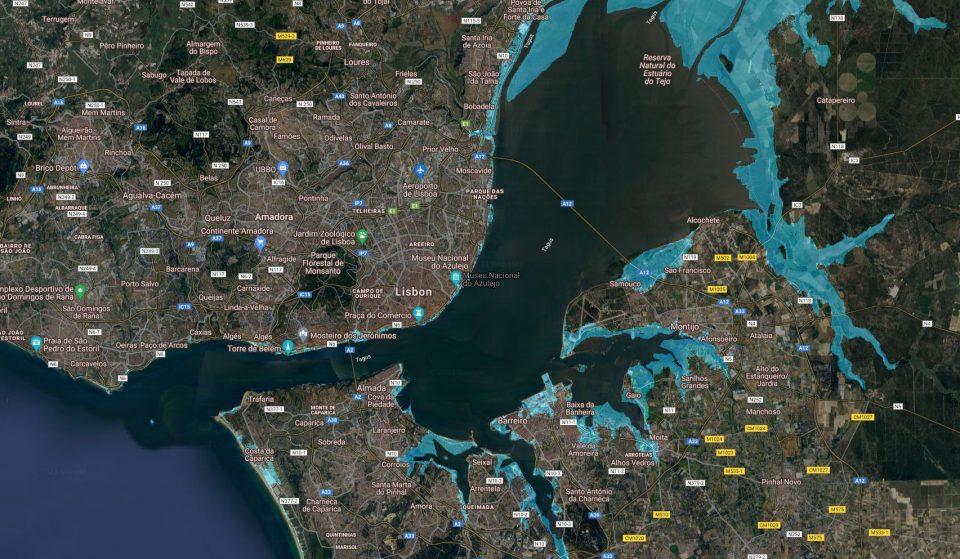 Isto seria Lisboa em 2100 com o aumento do nível do mar