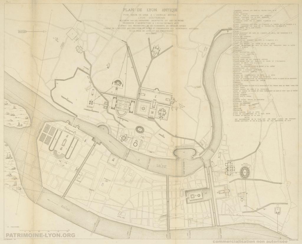 Histoire : découvrez le plan du Lyon antique, environ 100 ans après J.-C. !