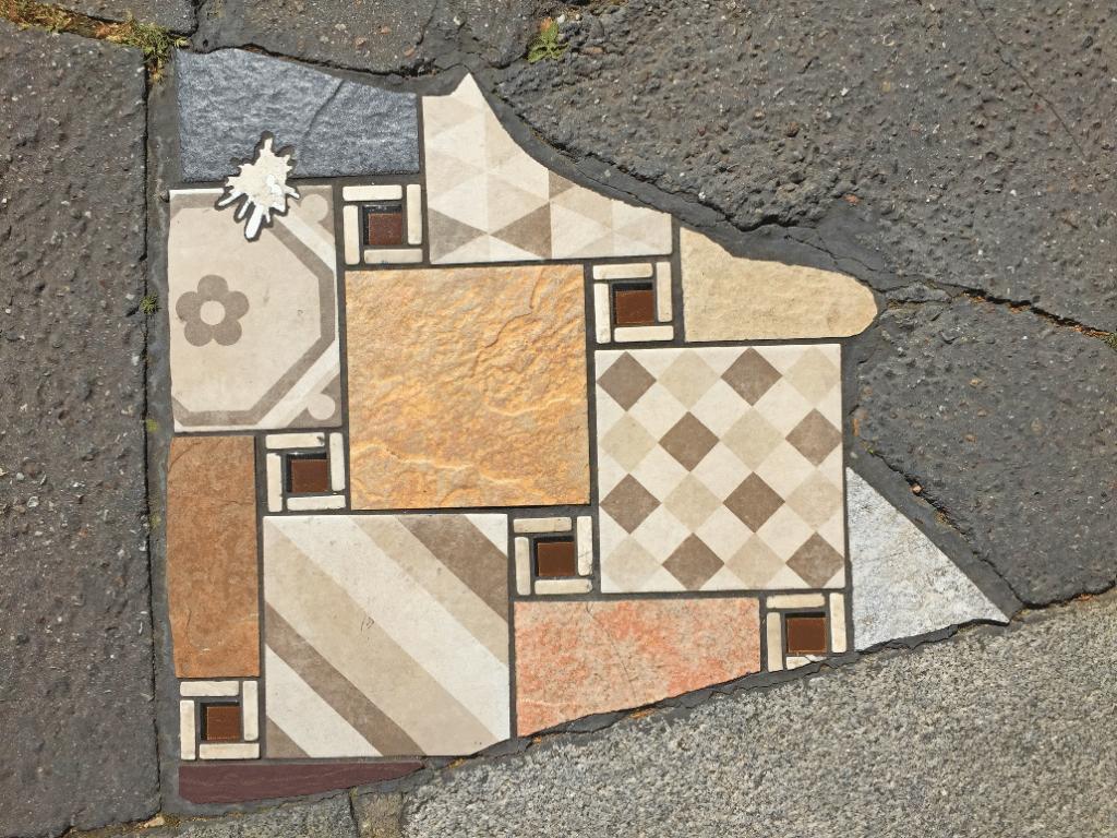 À Lyon, l'artiste Ememem répare les trottoirs avec de magnifiques mosaïques