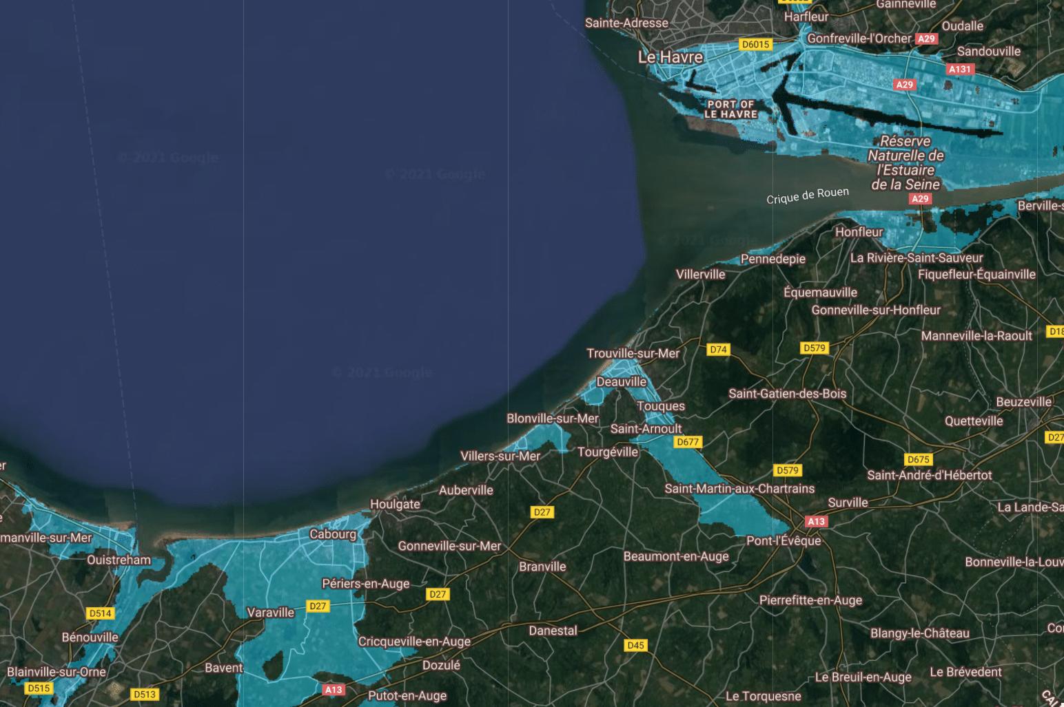 montée niveau de la mer france deauville 3m