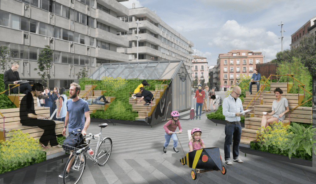 La plaza de la Luna se transforma para abrir el debate sobre el espacio urbano