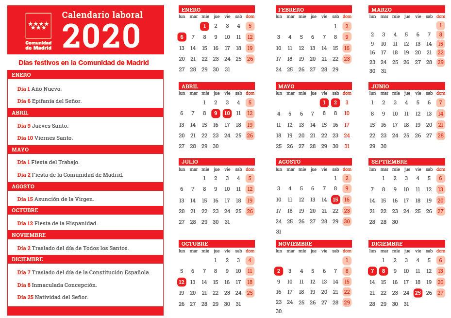 calendario laboral madrid