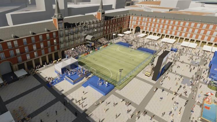 La UEFA convertirá la Plaza Mayor en un estadio de fútbol