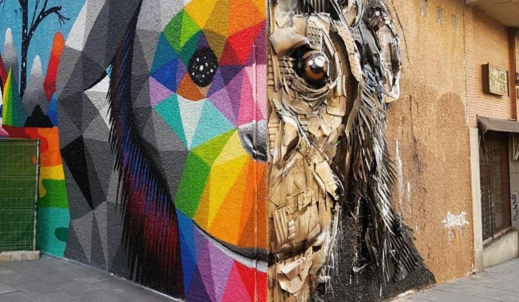 Okuda y Bordalo estrenan un nuevo mural en 3D en la calle Embajadores