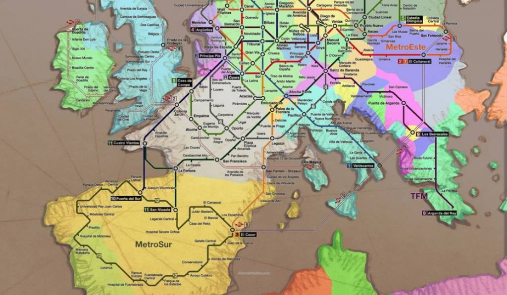 El plano del metro de Madrid encaja a la perfección con el mapa de Europa