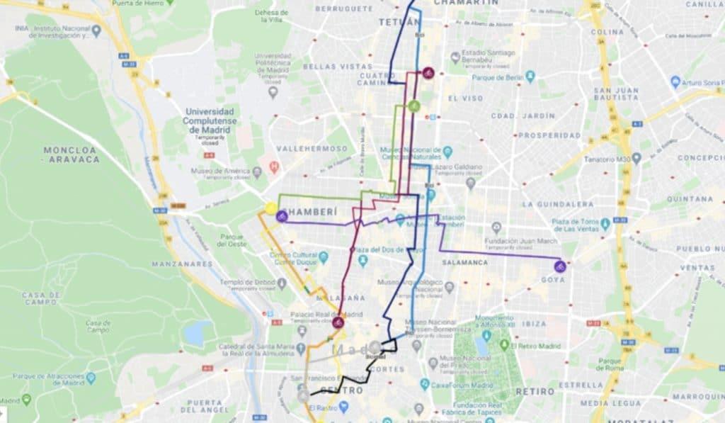 Crean un mapa de Madrid que sustituye las líneas de Metro por rutas en bici