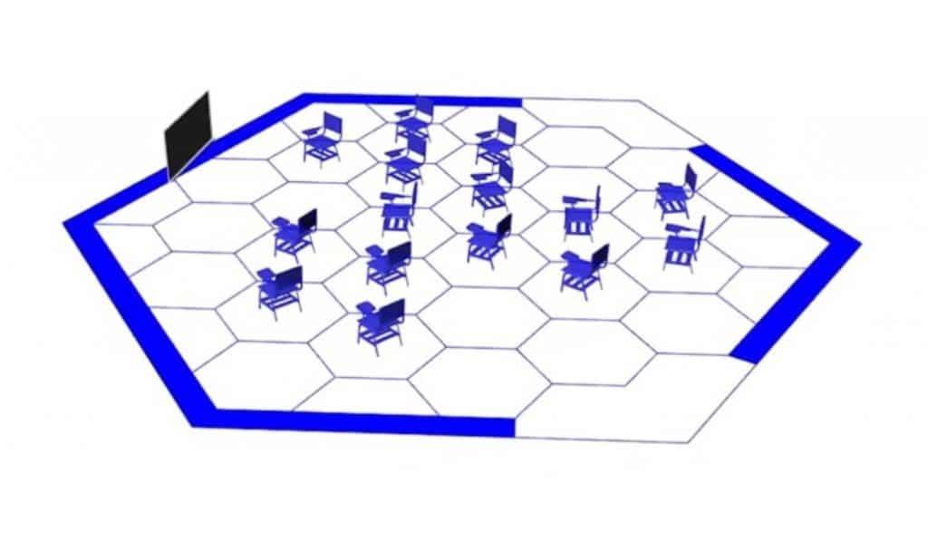 Aulas hexagonales: así es como los jóvenes madrileños podrían volver al colegio