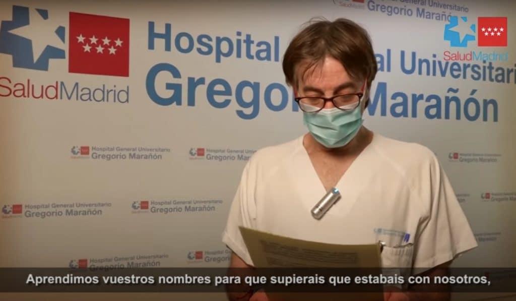 Los sanitarios del Gregorio Marañón escriben una emotiva carta a sus pacientes