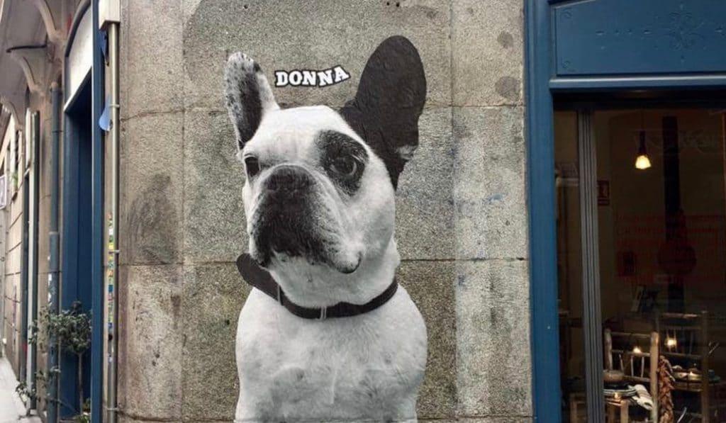 Las paredes de Malasaña, empapeladas con perros gigantes