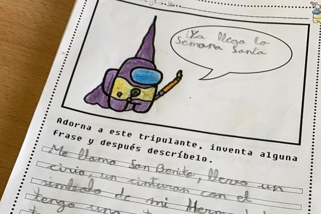 Dibujan un nazareno en un ejercicio escolar que se ha hecho viral