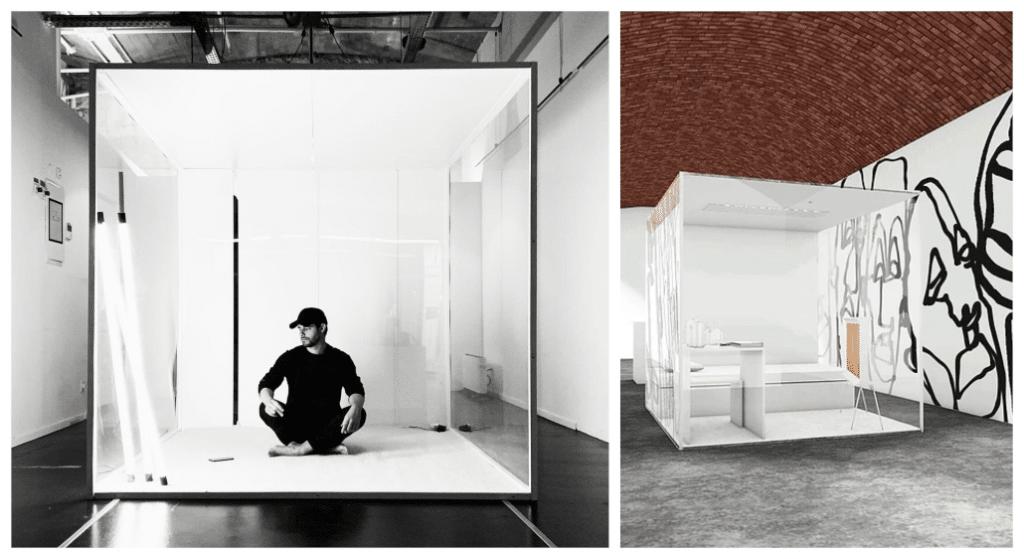 Un artiste marseillais se confine pendant 10 jours dans un cube de verre aux Docks Village !