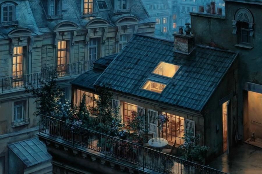 Rooftops parisiens et autres contes de fées : la peinture d'Eygeny Lushpin