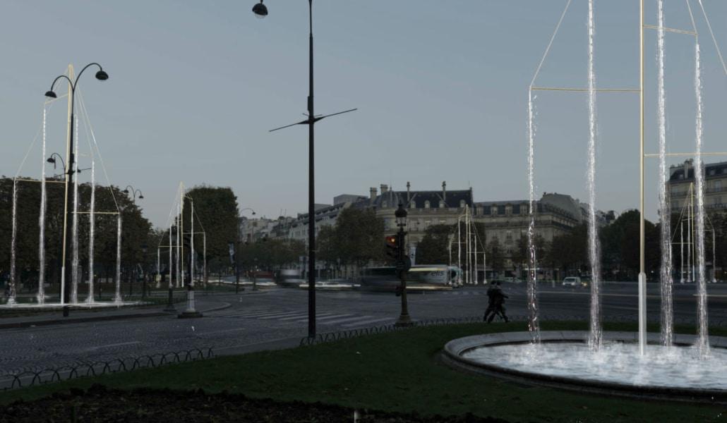 Six fontaines lumineuses seront installées sur le rond-point des Champs-Elysées