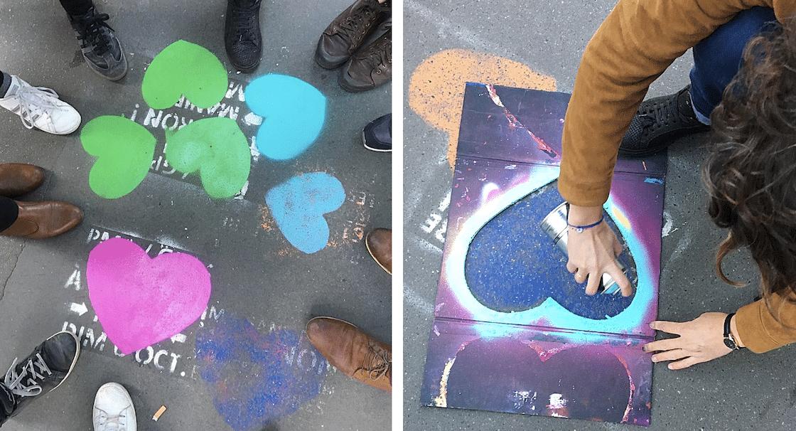 Street art : ils recouvrent de coeurs des tags anti-PMA pour toutes !