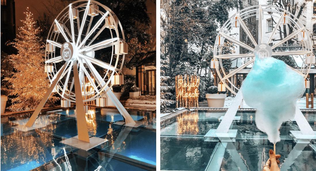 Pour Noël, la terrasse de cet hôtel parisien se transforme en fête foraine féérique !
