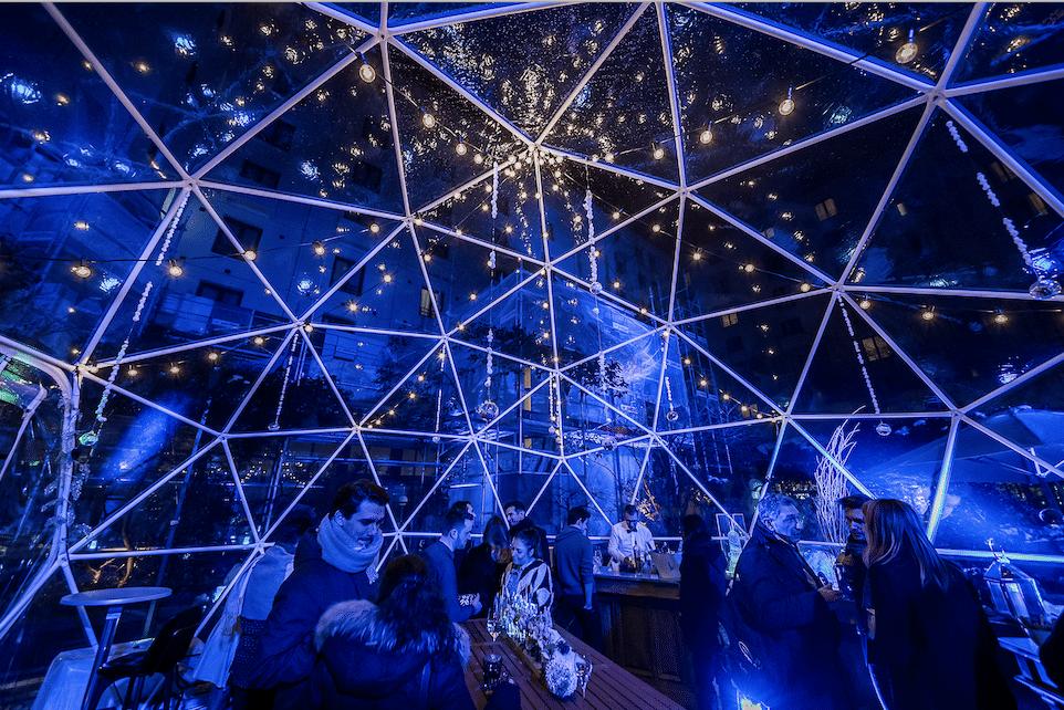Winter party avec bar à raclette sous une bulle éphémère féérique à Paris !