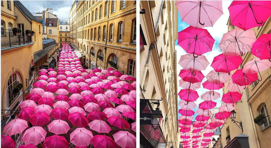 Un ciel de parapluies roses éphémère déployé au Village Royal à Paris !
