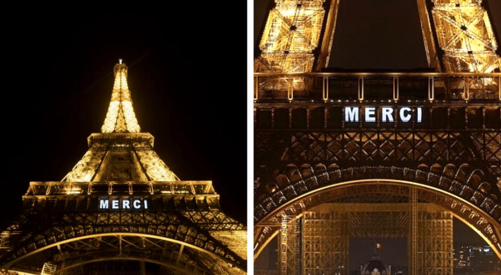 Chaque soir, la Tour Eiffel s'illumine et dit «merci» aux soignants !