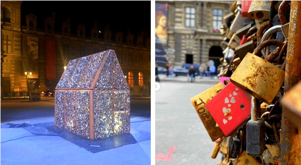 Place du Palais Royal, une oeuvre éphémère réunit les anciens cadenas d'amour du Pont des Arts !
